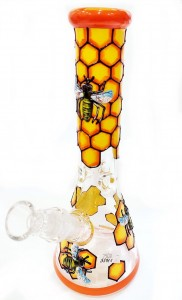 Bee Hive Pro Handcrafted Glass Bongo 25cm